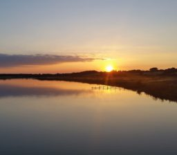 a golden and purple sunset reflected on the River Deben at Cattawade