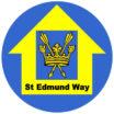 St Edmund Way blue and yellow waymarker disc logo