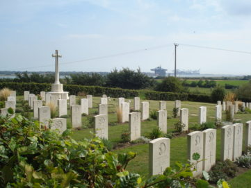 The Naval Cemetery at Shotley, with Felixstowe Port in the background