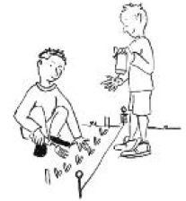 cartoon children planting seeds