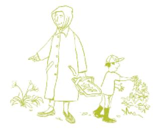 cartoon adult and child harvesting plants