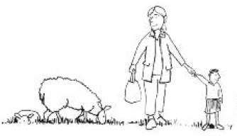 cartoon adult and child with a sheep