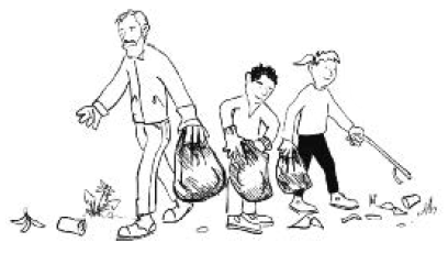 cartoon adult and kids picking up litter