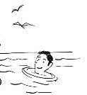 cartoon of a man swimming in the sea