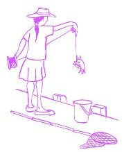 cartoon of a girl with a crab on a fishing line