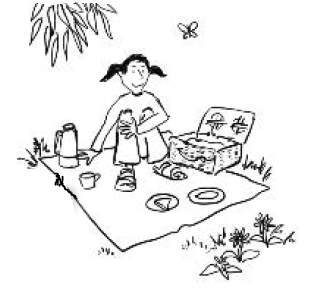 cartoon person having a picnic