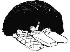 cartoon of people laying outside at night watching a meteor shower