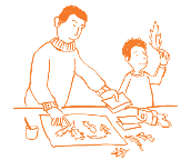 cartoon adult and child looking at autumn leaves