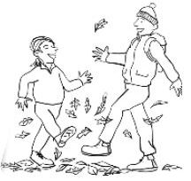 cartoon people kicking up fallen leaves
