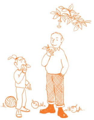 cartoon adult and child eating apples picked straight from the tree