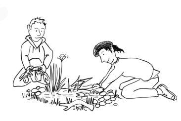 cartoon children building a wildlife pond