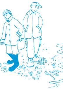 Cartoon men picking up rubbish on a beach