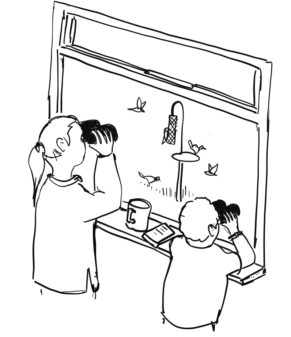 cartoon adult and child bird watching out of a window