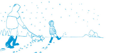 cartoon adult and child walking a dog in the snow
