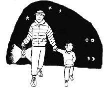 cartoon of an adult and a child taking a night time walk