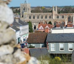 View of Clare church across the rooftops