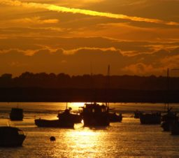 Boats at Felixstowe in a golden sunset