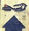Sandlings logo of a stylised nightjar on a wooden post, with a bold black arrow