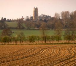 a sunset view across ploughed brown fields, a sweep of green field with lots of trees, and the square flint tower of Stoke by Nayland Church in the middle of the background