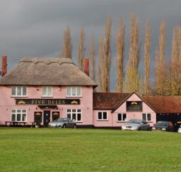 view of the Five Bells pub at Cavendish - a Suffolk pink thatched building with a long black barn attached, a green in the foreground, and tall trees behind, with a dramatic grey lowering sky