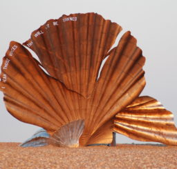 Image showing The Scallop statue by Maggi Hambling on Aldeburgh Beach